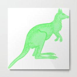 Bright Green Kangaroo Metal Print