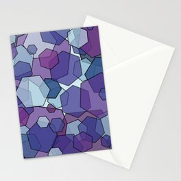 Converging Hexes - purple and blue Stationery Cards