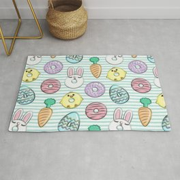 Easter with rabbits and donuts Rug