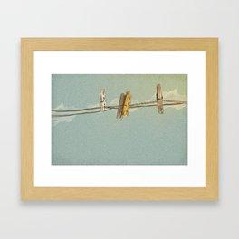 Vintage Clothespin Framed Art Print