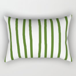 Simply Drawn Vertical Stripes in Jungle Green Rectangular Pillow