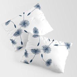 Wispy Blue Dandelion Seeds Blowing in the Breeze Pillow Sham