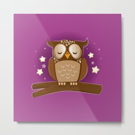 Sleepy brown barn owl Metal Print