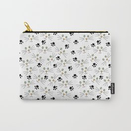 Cute Minimal Kitty Cat Faces and Paw Prints on White Carry-All Pouch
