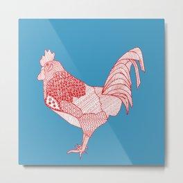red cock square Metal Print
