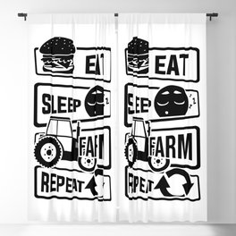 Eat Sleep Farm Repeat - Farmer Farmyard Farm Blackout Curtain