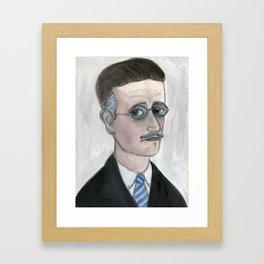 "James Joyce Literary Portrait, ""A Portrait of Joyce as A Young Man"" Framed Art Print"