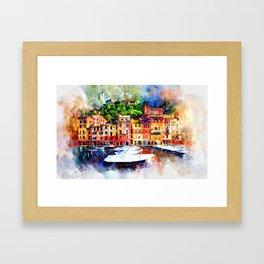 Watercolor painting pier Framed Art Print