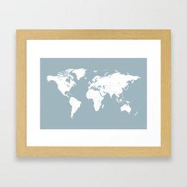 Minimalist World Map in Slate Blue Framed Art Print