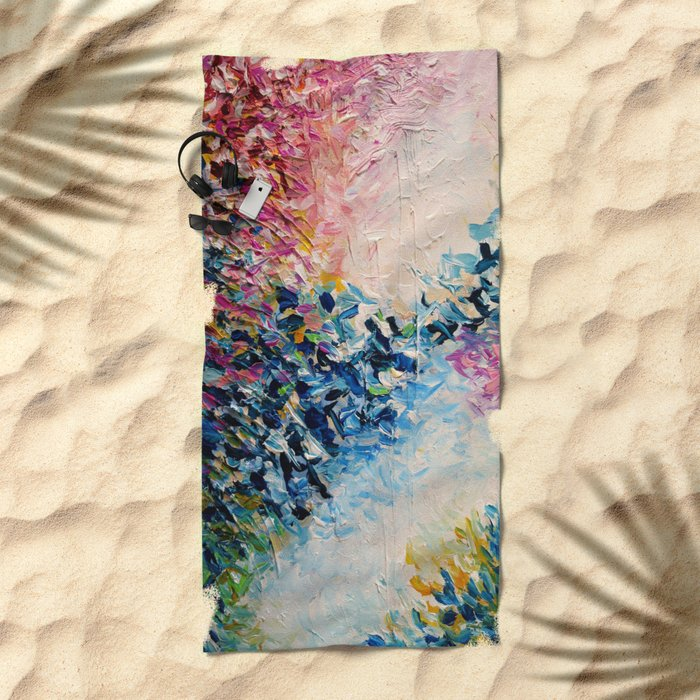 PARADISE DREAMING Colorful Pastel Abstract Art Painting Textural Pink Blue Tropical Brushstrokes Beach Towel