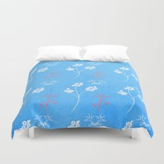 Plein Air Blue Floral Pattern Duvet Cover