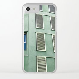 green wall Clear iPhone Case