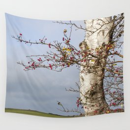 Rosehips, Birch And Sky Wall Tapestry