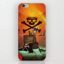 Funny pirate monkey with flag iPhone Skin