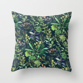 Moody Leafy Botanical with Emerald Green and Indigo Throw Pillow