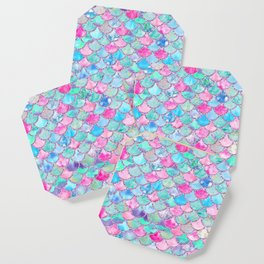 Colorful Pink and Blue Watercolor Trendy Glitter Mermaid Scales Coaster