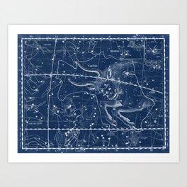 Taurus sky star map Art Print