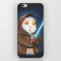 guinea pig iPhone & iPod Skins featuring Jedi Guinea Pig by When Guinea Pigs Fly