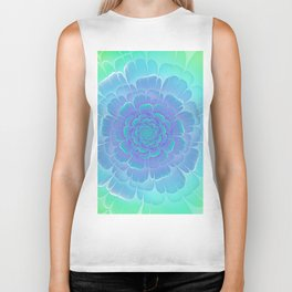 Romantic blue and green flower, digital abstracts Biker Tank