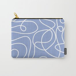 Doodle Line Art | White Lines on Periwinkle Carry-All Pouch