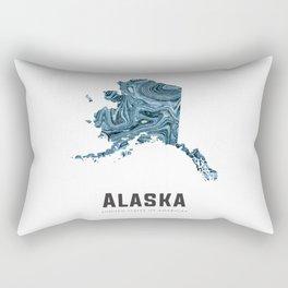 Alaska - State Map Art - Abstract Map - Blue Rectangular Pillow
