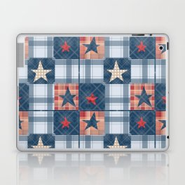 Blue denim plaid patchwork . Laptop & iPad Skin