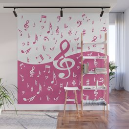 Cranberry Pink Music Notes with Wave Wall Mural