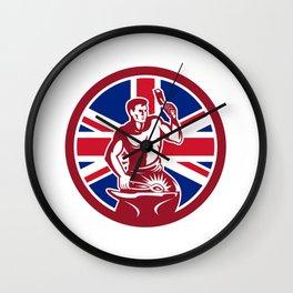 British Blacksmith Union Jack Flag Icon Wall Clock