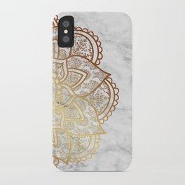 Mandala - Gold & Marble iPhone Case