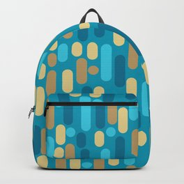 Morningside Heights Mid Century Modern Pattern in Peacock Blue and Gold Backpack