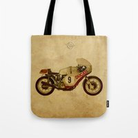 ducati Tote Bags featuring Ducati Number 9 by Larsson Stevensem