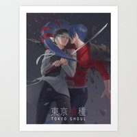 tokyo ghoul Art Prints featuring TOKYO GHOUL by Kossoribl