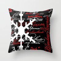 snowflake Throw Pillows featuring SnowFlake  by Saundra Myles