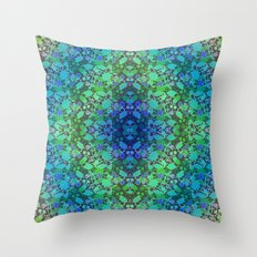 Lila's Flowers Repeat Blue Throw Pillow