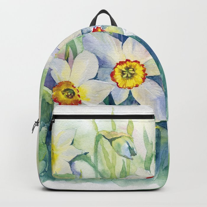 Daffodils watercolor illustration Backpack