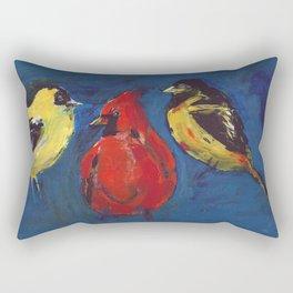 Shadow Bird (Cardinal, Goldfinches, and ?) Rectangular Pillow