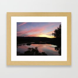 Summer Solstice Sunset Across The Big Eddy Framed Art Print