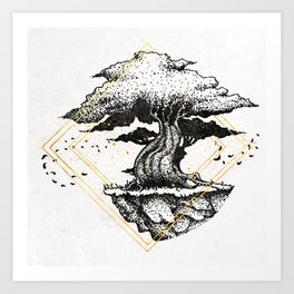 Lonely Tree Inktober :: The Air Seems Restless Art Print