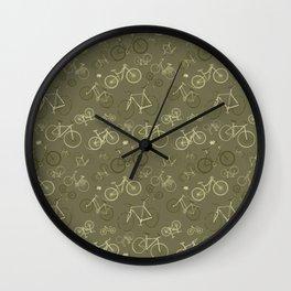 I love bikes in army green Wall Clock