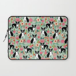 Boston Terrier florals dog breed pattern must have pupper gifts dog lovers Laptop Sleeve