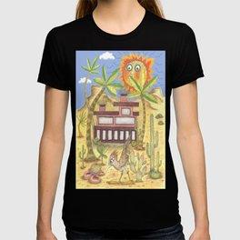 desert modernism, blue beige yellow green T-shirt