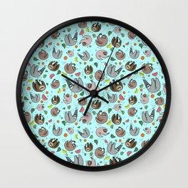 Sloth Pattern Wall Clock