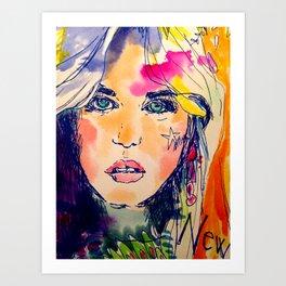 watercolor flower girl Art Print