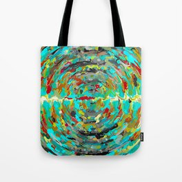 psychedelic circle pattern painting abstract background in green blue yellow brown Tote Bag