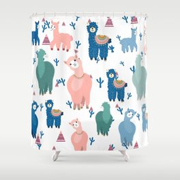 Colorful lamas and abstract trees pattern Shower Curtain