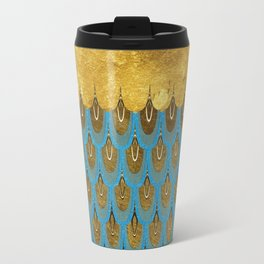 Blue and Gold Mermaid Scales Dreams Travel Mug