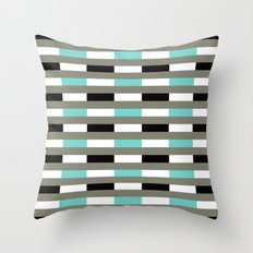 Turquoise, black & gray line pattern Throw Pillow