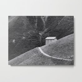 HILLSIDE HUT (graphite) / Bregenz Forest, Austria Metal Print