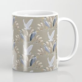 Great Blue Heron - Tan and Gray Coffee Mug