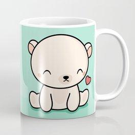 Kawaii Cute Polar Bear With Heart Coffee Mug